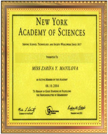Received the diploma of New York Academy in 08.10.2004