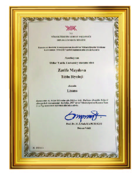 Zarifa Mailova recognized Turkey Higher education institutions as a doctor